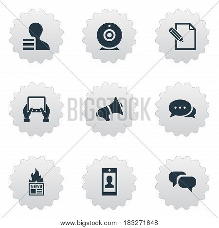 Vector Illustration Set Of Simple User Icons. Elements Gossip, Broadcast, Gain And Other Synonyms Loudspeaker, Smartphone And News.