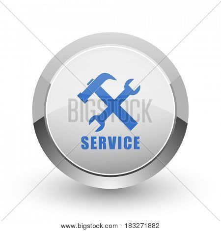 Service chrome border web and smartphone apps design round glossy icon.