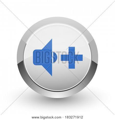 Speaker volume chrome border web and smartphone apps design round glossy icon.