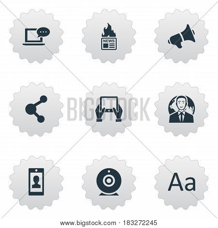 Vector Illustration Set Of Simple Blogging Icons. Elements Profile, Notepad, International Businessman And Other Synonyms Relation, Loudspeaker And Network.