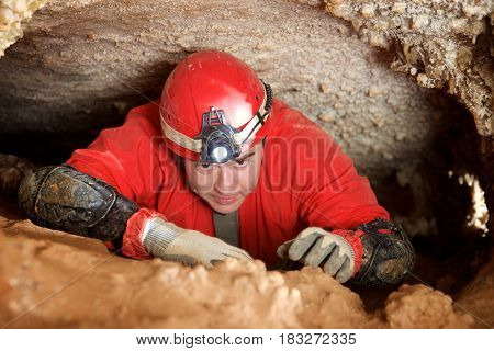 Caving in Niguella Cave, Zaragoza Province, Aragon, Spain.