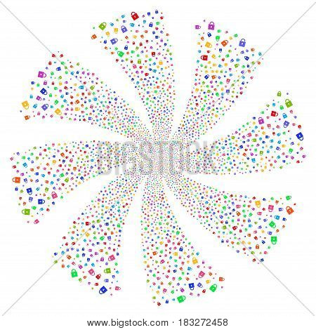 Lock fireworks swirl rotation. Vector illustration style is flat bright multicolored iconic symbols on a white background. Object twirl done from random pictograms.