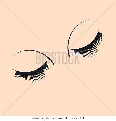 Long extended lashes. False eyelashes. Closed up of beautiful eyes. Vector illustration