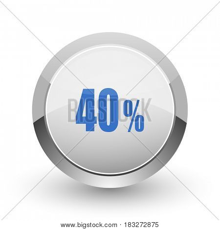 40 percent chrome border web and smartphone apps design round glossy icon.