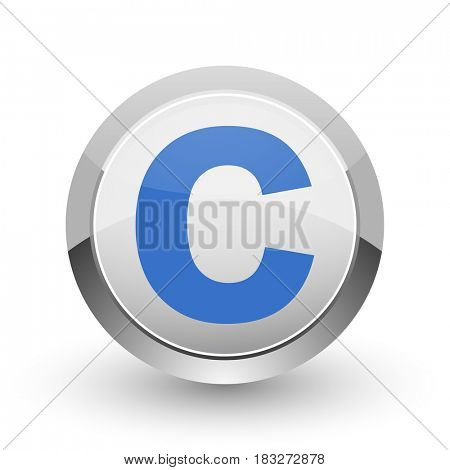 Copyright chrome border web and smartphone apps design round glossy icon.