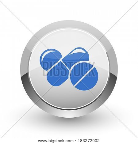 Medicine chrome border web and smartphone apps design round glossy icon.