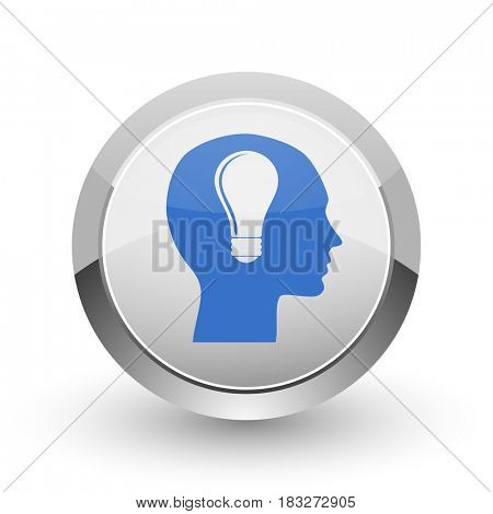 Head chrome border web and smartphone apps design round glossy icon.