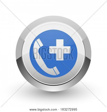 Emergency call chrome border web and smartphone apps design round glossy icon.