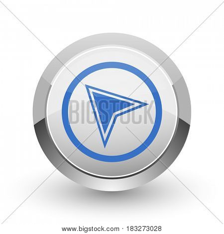 Navigation chrome border web and smartphone apps design round glossy icon.
