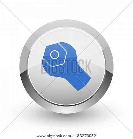 Tools chrome border web and smartphone apps design round glossy icon.
