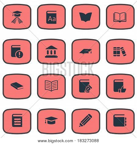 Vector Illustration Set Of Simple Books Icons. Elements Journal, Academic Cap, Library And Other Synonyms Important, Cap And Recommended.