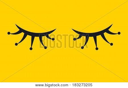 Gala lash. Eyelash extensions, festive make up. Icon closed eyes. Vector illustration.