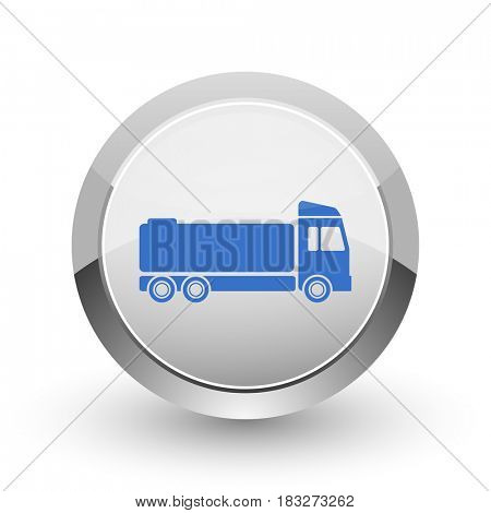 Truck chrome border web and smartphone apps design round glossy icon.