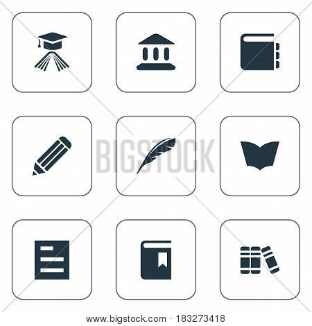 Vector Illustration Set Of Simple Reading Icons. Elements Reading, Plume, Book Cover And Other Synonyms Literature, Building And Pen.