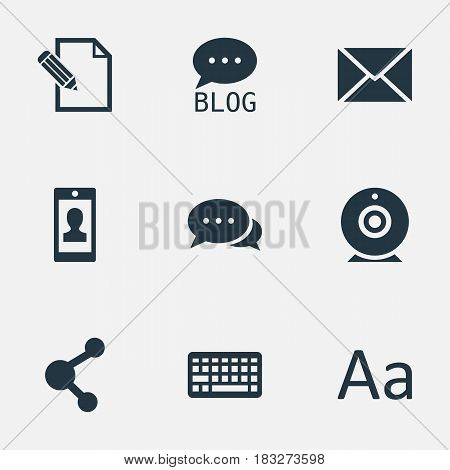 Vector Illustration Set Of Simple Blogging Icons. Elements Cedilla, Argument, Site And Other Synonyms Alphabet, Contract And Keyboard.
