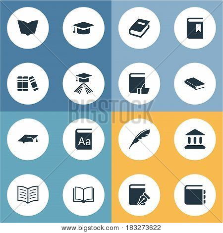 Vector Illustration Set Of Simple Books Icons. Elements Plume, Library, Bookshelf And Other Synonyms Favored, Journal And Library.