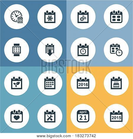 Vector Illustration Set Of Simple Plan Icons. Elements Almanac, Heart, 2016 Calendar And Other Synonyms Smart, Birthday And Repair.