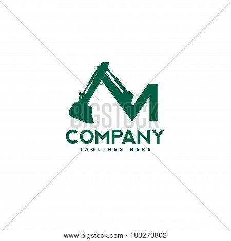 letter M Excavators Construction machinery logo. Special equipment. Excavators, crane. Logo Flat style