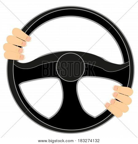 Steering wheel of the car and hands of the driver on him