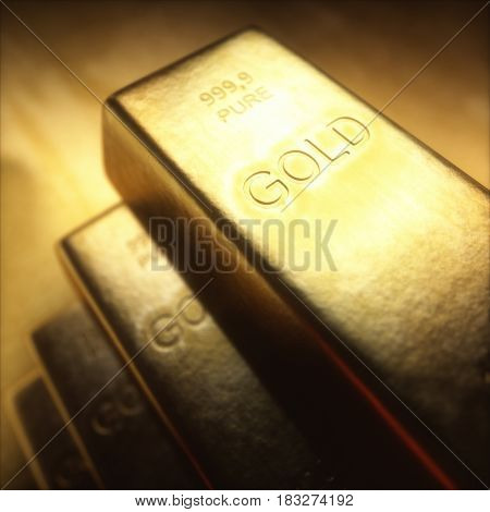 3D illustration. Gold bars 1000 grams. Concept of success in business and finance.