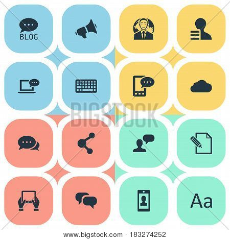 Vector Illustration Set Of Simple Blogging Icons. Elements Cedilla, Document, Man Considering And Other Synonyms Tablet, Coming And Blog.