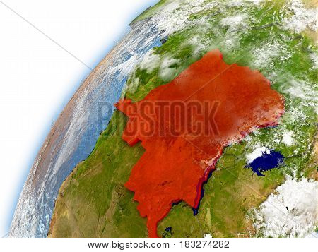 Democratic Republic Of Congo On Model Of Planet Earth