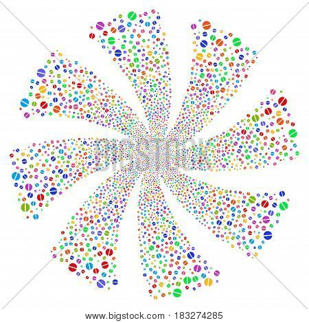Pharmacy Tablet fireworks swirl rotation. Vector illustration style is flat bright multicolored iconic symbols on a white background. Object whirlpool created from random pictograms.