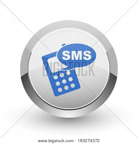 Sms chrome border web and smartphone apps design round glossy icon.