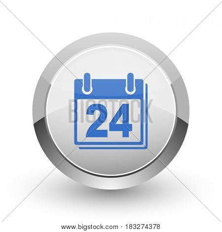 Calendar chrome border web and smartphone apps design round glossy icon.