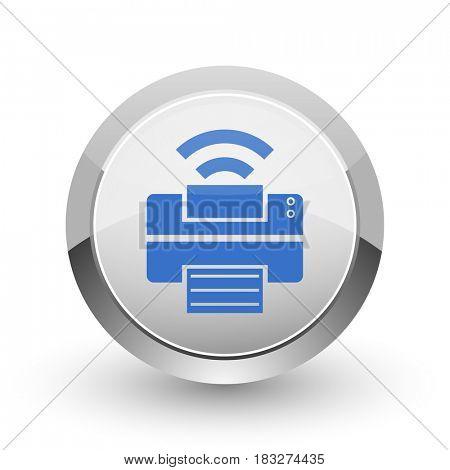 Printer chrome border web and smartphone apps design round glossy icon.
