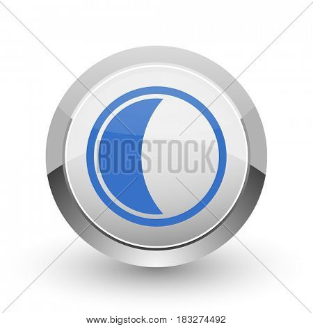Moon chrome border web and smartphone apps design round glossy icon.