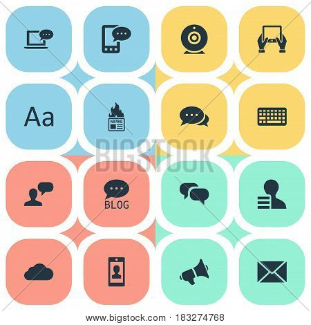 Vector Illustration Set Of Simple User Icons. Elements Keypad, Gazette, Profile And Other Synonyms Laptop, Missive And Earnings.