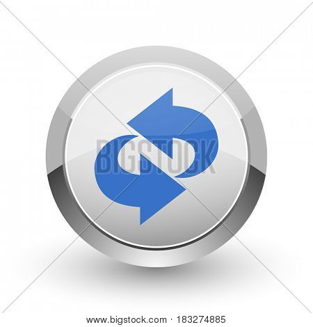 Rotation chrome border web and smartphone apps design round glossy icon.