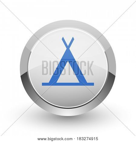 Camp chrome border web and smartphone apps design round glossy icon.