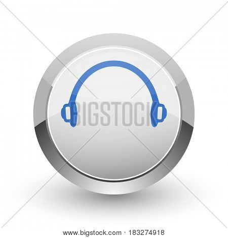 Headphones chrome border web and smartphone apps design round glossy icon.