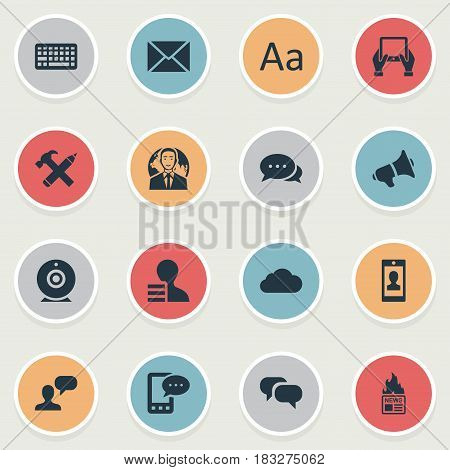 Vector Illustration Set Of Simple User Icons. Elements Gazette, E-Letter, Overcast And Other Synonyms Sky, Notepad And Cedilla.
