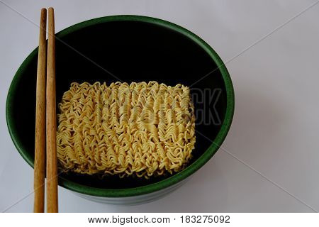 Instant noodles ready to eat after mixing with hot water.