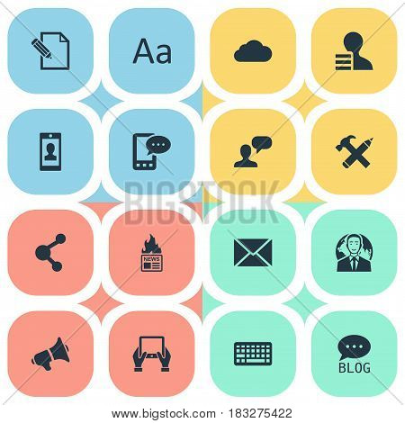 Vector Illustration Set Of Simple Blogging Icons. Elements Site, Share, Loudspeaker And Other Synonyms Post, Writing And Cloud.