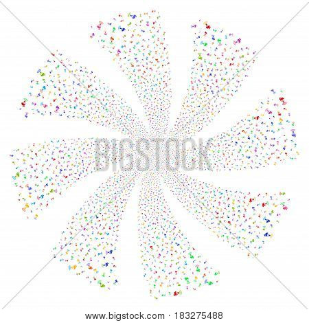 Radio Transmitter fireworks swirl rotation. Vector illustration style is flat bright multicolored iconic symbols on a white background. Object twirl done from random design elements.