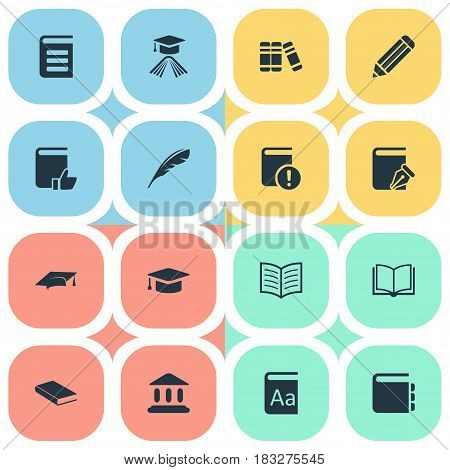 Vector Illustration Set Of Simple Reading Icons. Elements Plume, Notebook, Library And Other Synonyms School, Quill And Cap.