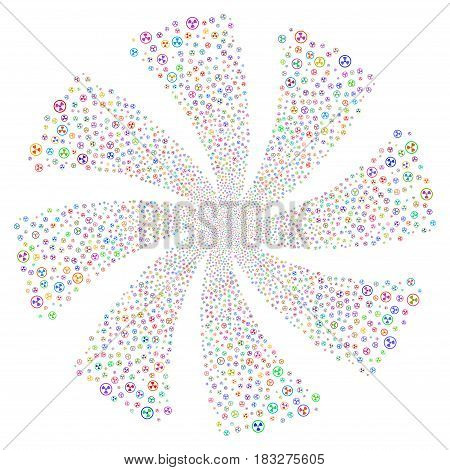 Radioactive fireworks swirl rotation. Vector illustration style is flat bright multicolored iconic symbols on a white background. Object spiral done from random symbols.