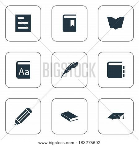 Vector Illustration Set Of Simple Knowledge Icons. Elements Pen, Plume, Book Cover And Other Synonyms Catalog, Writing And Graduation.