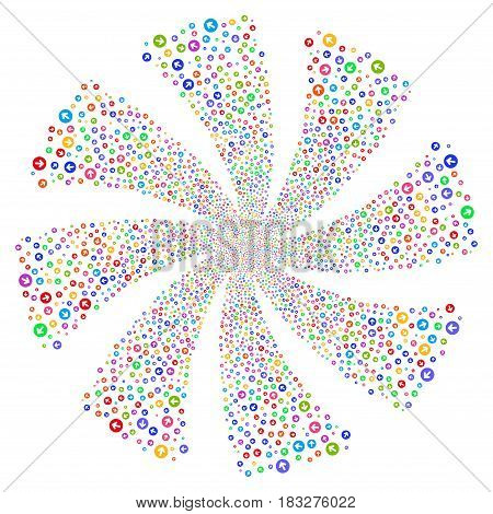 Rounded Arrow fireworks swirl rotation. Vector illustration style is flat bright multicolored iconic symbols on a white background. Object twirl made from random pictographs.