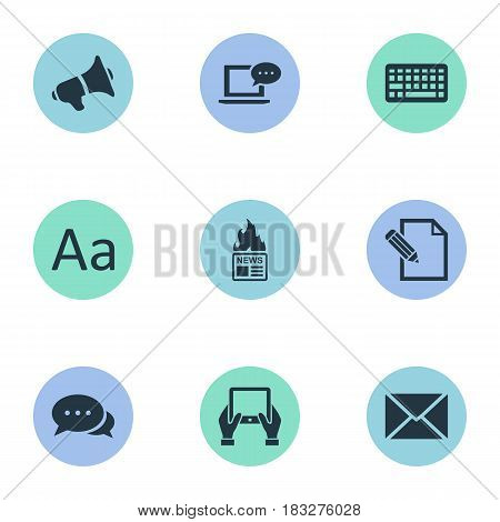 Vector Illustration Set Of Simple Blogging Icons. Elements Post, Notepad, Loudspeaker And Other Synonyms Hot, Message And Contract.
