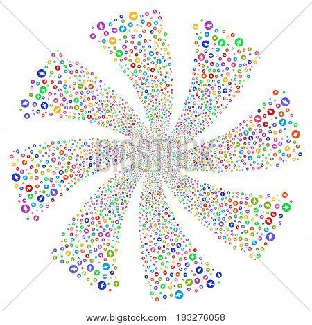 Rounded Arrow fireworks swirl rotation. Vector illustration style is flat bright multicolored iconic symbols on a white background. Object whirlpool organized from random icons.