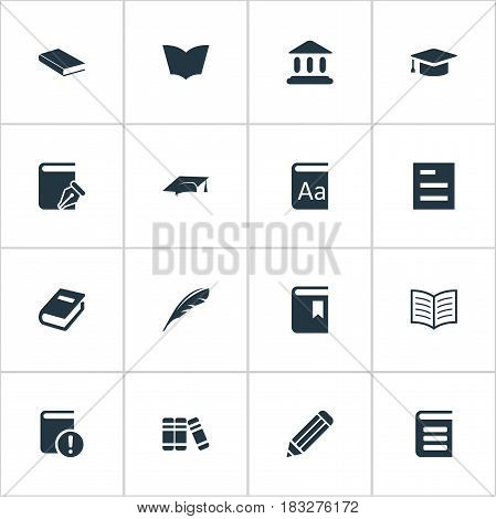 Vector Illustration Set Of Simple Education Icons. Elements Encyclopedia, Academic Cap, Book Cover And Other Synonyms Alphabet, Bookmark And Notebook.
