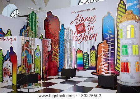 Kyiv, Ukraine - February 4, 2017: Hivtest Display As Part Of Ukrainian Fashion Week 2017