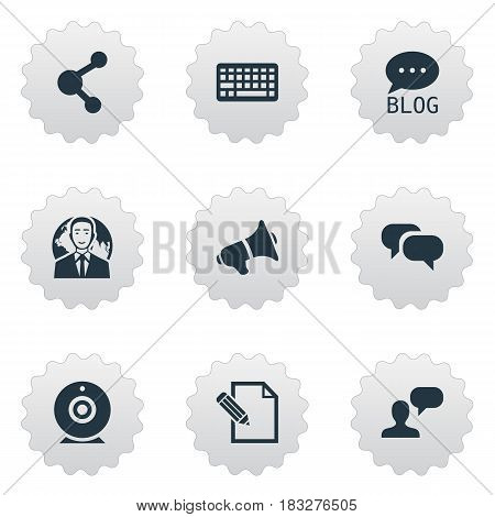 Vector Illustration Set Of Simple Blogging Icons. Elements Share, Site, Gossip And Other Synonyms Broadcast, Site And Megaphone.