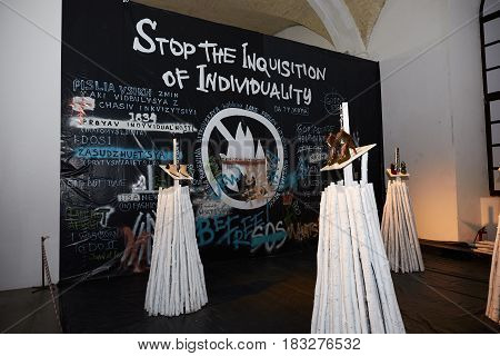 Kyiv, Ukraine - February 4, 2017: Art Installation As Part Of Ukrainian Fashion Week 2017