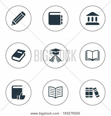 Vector Illustration Set Of Simple Books Icons. Elements Bookshelf, Book Page, Graduation Hat And Other Synonyms Building, Hat And Blank.